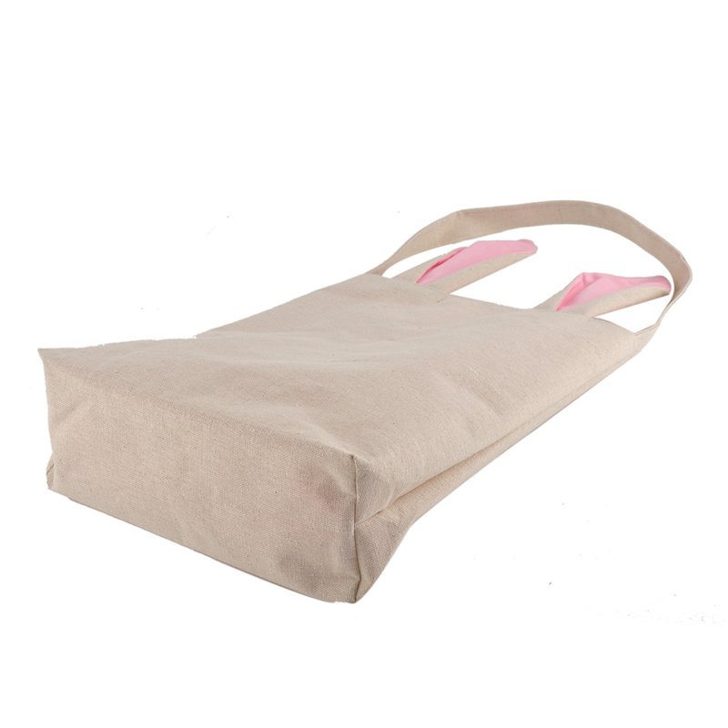 Купить с кэшбэком 2pcs Easter Bunny Rabbit ears gift bags jute Dual Layer Easter Eggs Gifts Shopping Carrying Bag for Party New Year Decorations