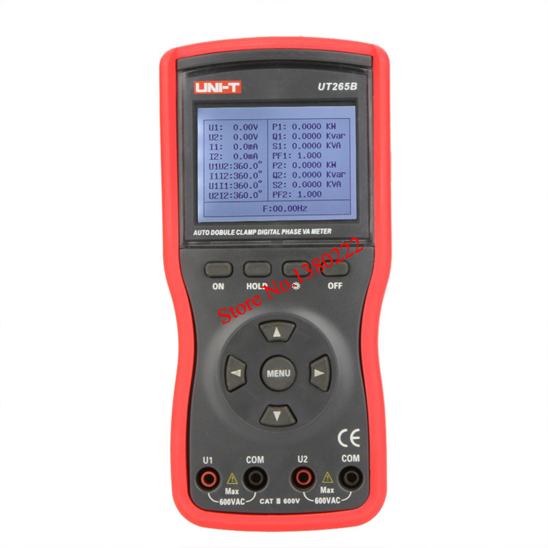UNI-T UT265B Auto Double Clamp Digital Phase Meter VA Volt Ammeter Power Factor Tester Power Meter w/RS-232 & LCD Backlight