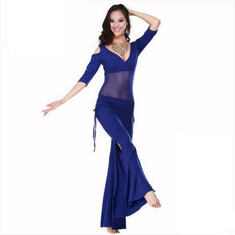 Hot Sale Nytt ermet ermer V-hals magedanssett Milk Silk Belly Dance Kostymer kvinner for danseklær Topp & bukser