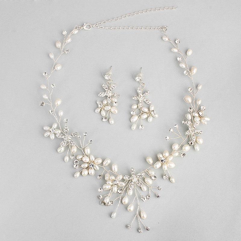 Gorgeous Handmade Austrian Crystals Rhinestones Freshwater Pearls Wedding Jewelry Set Bridal Necklace Earring Set Bridesmaids