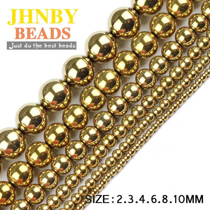 JHNBY okrągłe hematytowe koraliki 2/3/4/6/8/10mm naturalny kamień poszycia kolor luźne koraliki biżuteria na bal bransoletki Making DIY akcesoria