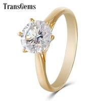 Transgems классический Муассанит Обручение кольцо для Для женщин 2ct 8 мм F Цвет синтетический бриллиант кольцо 14 К желтого золота Обручение кольц