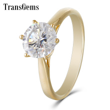 TransGems 2 Carat F Colorless Moissanite Solitaire Wedding Engagement Ring in 14K Yellow Gold for Women