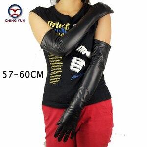 Image 5 - CHING YUN gant Long en cuir de mouton pour femmes, gant noir, à doublure fine et authentique, à la mode, manches pour bras, 2019