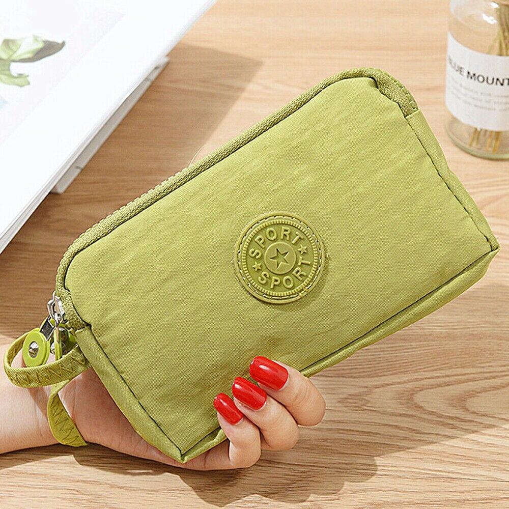 Модные Женские однотонные 3 Слои холст телефона короткий бумажник три-Слои для монет на молнии-карта для ключей - Цвет: Зеленый