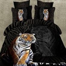 Wongs Bedding Brand 3D Cartoon Sets Tiger Animal Duvet Cover Black Bedlinen Bedclothes Double Queen King Size 3/4PCS