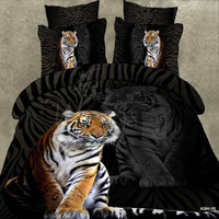 Wongs Bedding Brand 3D Cartoon Bedding Sets Tiger Animal Duvet Cover Black Bedlinen Bedclothes Double Queen King Size 3/4PCS