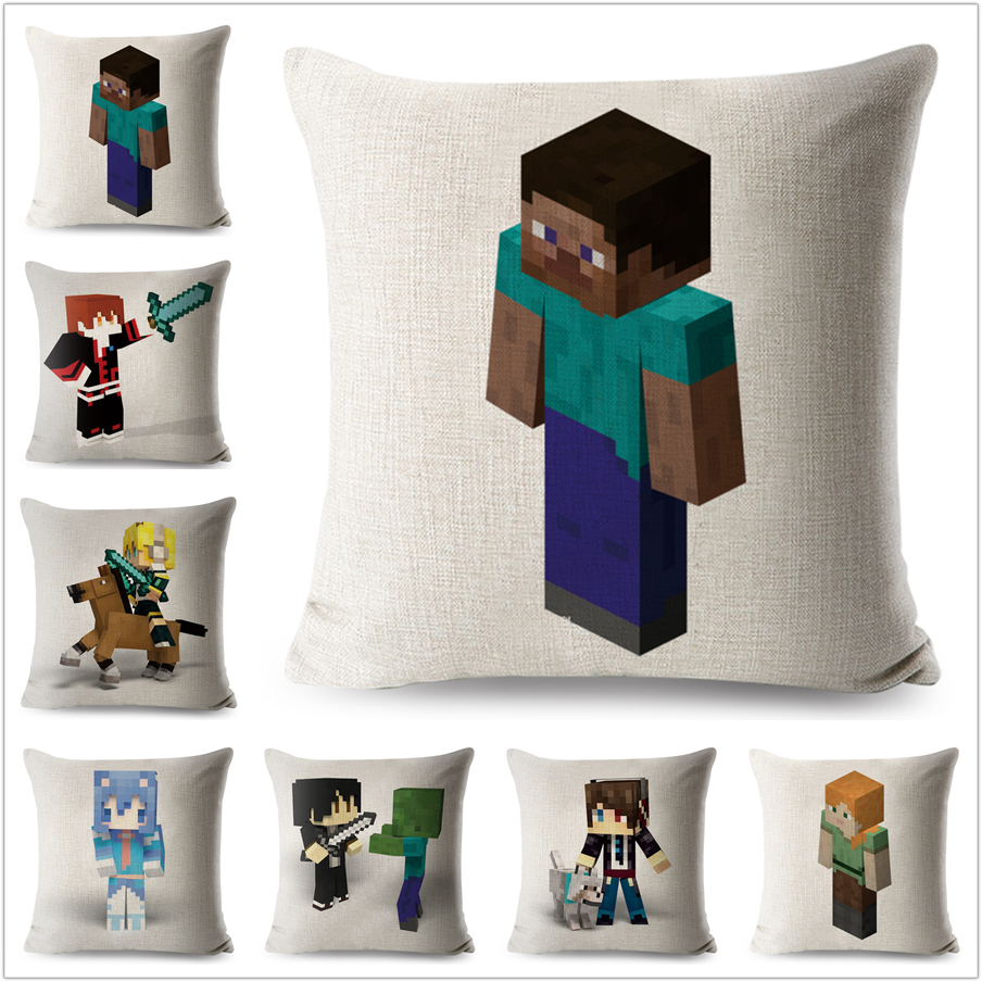 Minecraft Pillow Case Cartoon Linen 45*45 cm Steve Decorative Printed Cushion Cover for Sofa Home Throw Pillowcase Pillowcovers