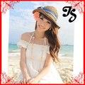 Corea mujeres niñas tapas para el verano con diseño hermoso de la flor Solid Straw sombrero de la playa del sombrero del sol envío gratis