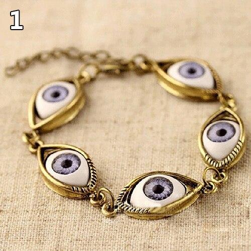 Moda Unisex anioł zło Demon duży oczu gałki ocznej wzór bransoletka łańcuch biżuteria prezent