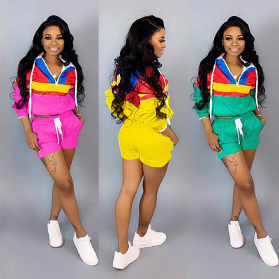 2019 Women Zipper Up Patchwork Long Sleeve Trench Shorts Drawstring Suit 2 Piece Set Sporting Safari Tracksuit Outfit 5 Colors