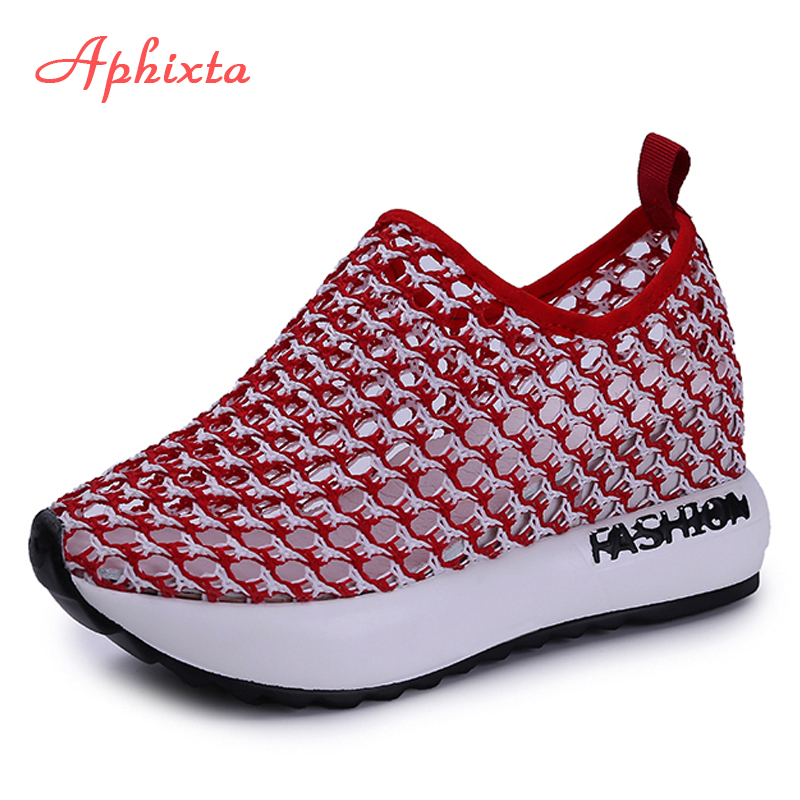 Aphixta Height Increasing Shoes Woman Hollow Slip-on Wedge Girls Student Breathable Fashion Air Mesh Shoes Summer SneakersAphixta Height Increasing Shoes Woman Hollow Slip-on Wedge Girls Student Breathable Fashion Air Mesh Shoes Summer Sneakers