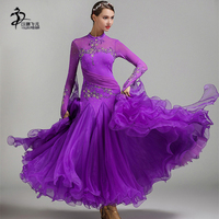 Red Blue Ballroom Dance Competition Dresses Waltz Dance Dress Frige Standard Costumes Ballroom Dress