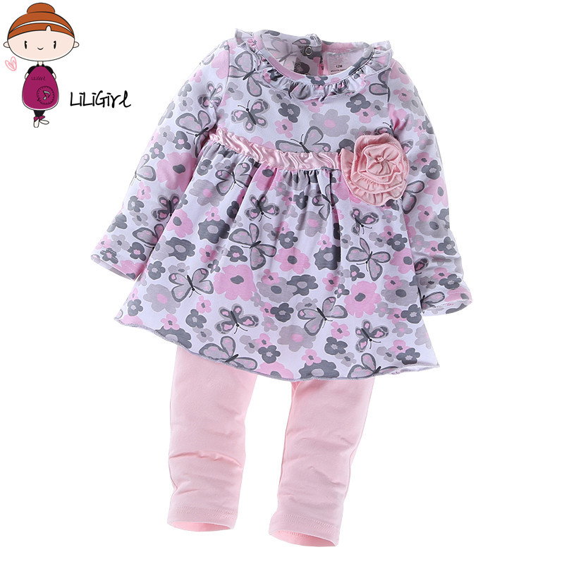 Butterfly Floral Baby Girl Clothes Sets Autumn Spring Long Sleeve Toddler Girl's Outfits Tops + Pant Kids Clothing 2017 new style spring autumn hoodie baby girl clothing set sequin lace long sleeve velour sports jacket long trousers outfits