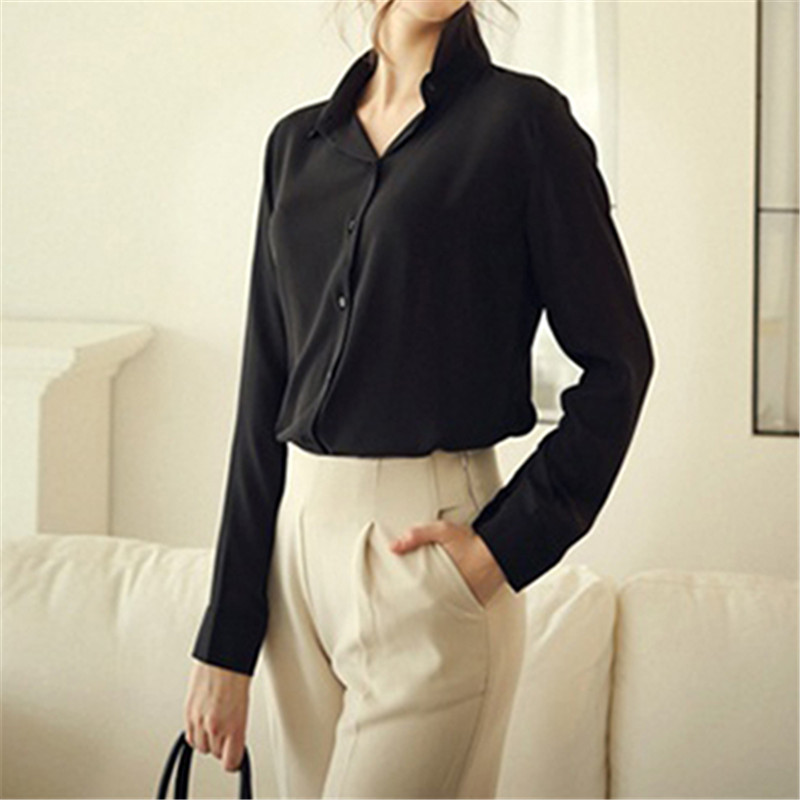 Fashion Summer Women Shirt Office Blouse Work Wear Elegant Formal Plus Size Solid Color Top Slim