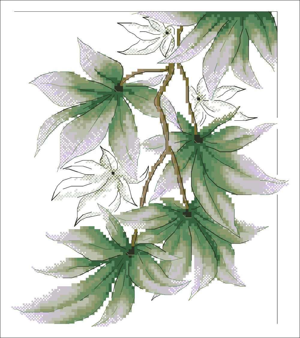 Balancement feuilles vertes point de croix paquet fleur 18ct 14ct 11ct tissu coton fil broderie couture à la main travaux manuels