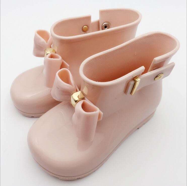 Brand Kids Rainboots Spring Autumn Baby Girls Rain Boots Warm Beauty Bow Rainboots Fashion Rubber Shoes Toddler Kids Jelly Shoes
