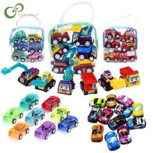 12 шт./6 шт. Тяговый автомобиль, игрушечный автомобиль, детский гоночный автомобиль, детские мини-автомобили, мультяшный Тяговый автобус, груз...