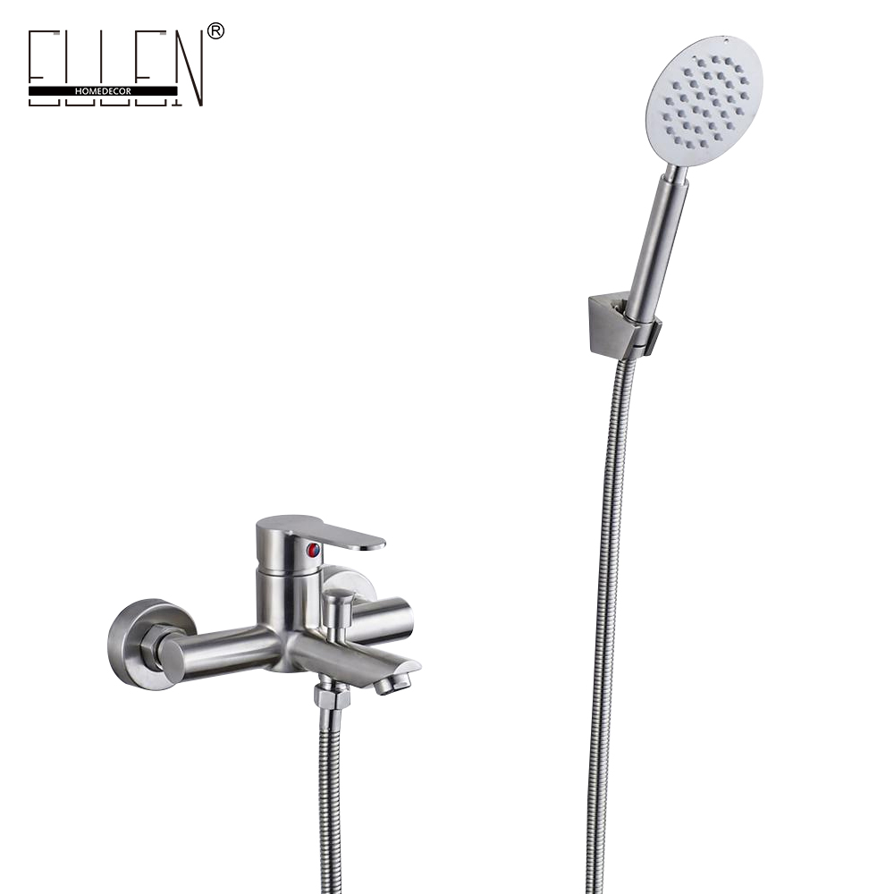 Фотография Wall Mounted Bath Shower Faucet With Hand Shower Stainless Steel Brush Nickel Finished ELS401