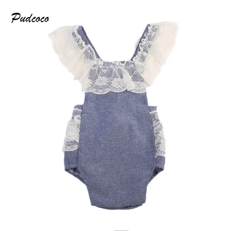 Pudcoco Brand Baby Romper 2017 Summer Sleeveless Lace Denim Clothes Back Halter Princess Jumpsuit Playsuit Sunsuit Outfits 0-24M  lost ink grommet back denim jumpsuit