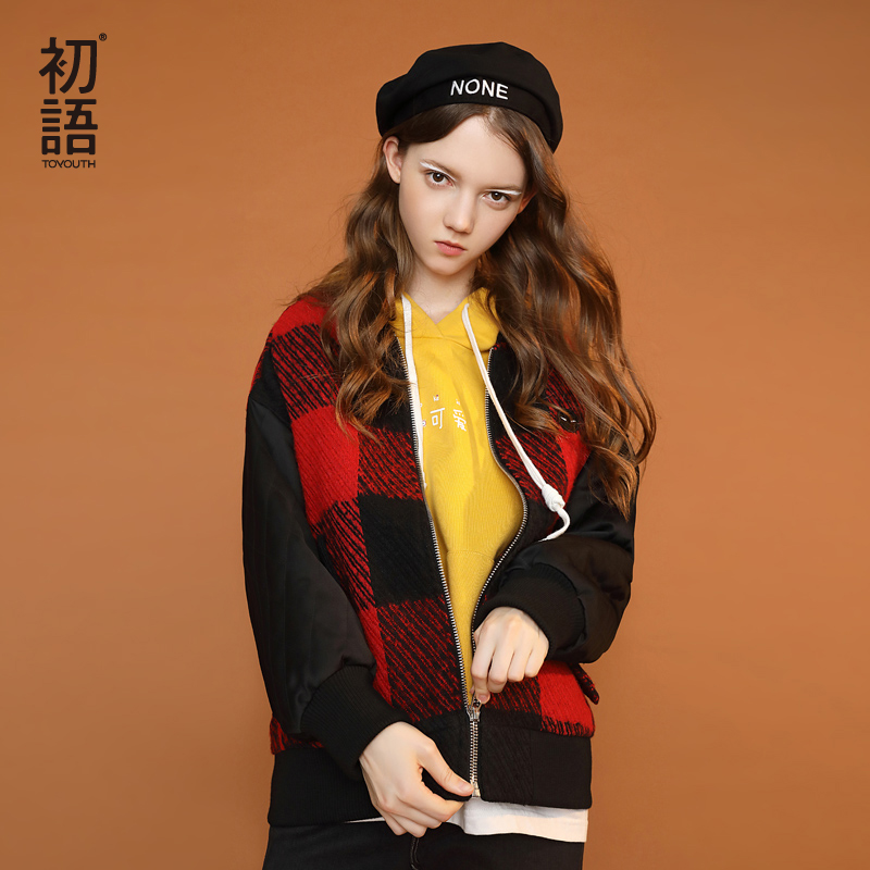 Toyouth Patchwork Women Woolen Coats Back Letter Printed Loose Short Coat For Women Baseball Jacket With