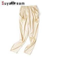 Women Silk pants 95% Real Silk 5%Spandex Solid Pleated Elastic waist pants Satin silk under pants 2017 Fall New