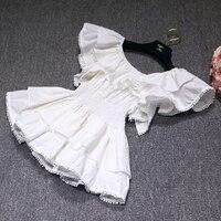 2019 Summer Short sleeved Shirt Shoulder exposed Collar Lotus Leaf Edge White Doll Blouse Elegant Women Shirts
