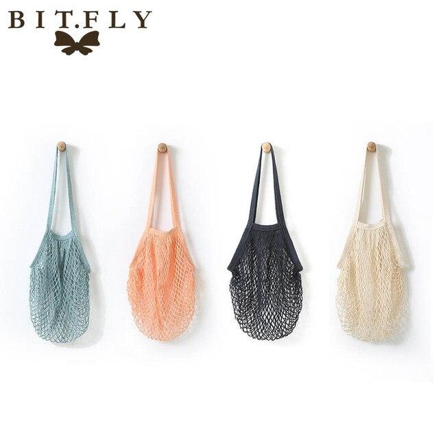Bolsa de compras de verduras de frutas de moda bolso de compras bolso de mano de algodón tejido de red bolsa de mano bolsa de almacenamiento para el hogar