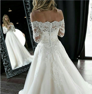 Image 3 - Princess Off  Shoulder Lace Wedding Dresses 2020 Appliques Long Sleeves  Back A Line Mariage Gowns Sweep Train Abito Sposa