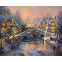 Megayouput 5d diy diamond painting cross stitch kits  embroidery Christmas Eve Scenery mosaic pattern wall sticker gift