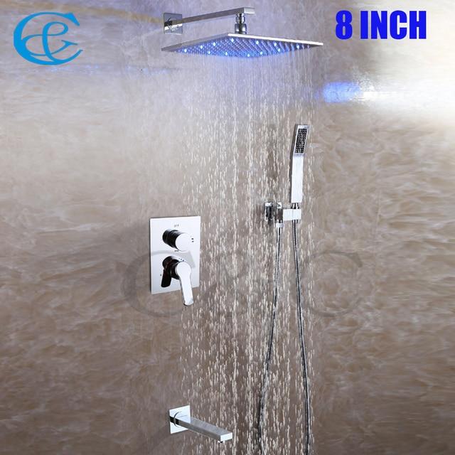 Square Chrome Copper Rain Led Shower Head Set Br Spout Easy Installation Contemporary Bathroom