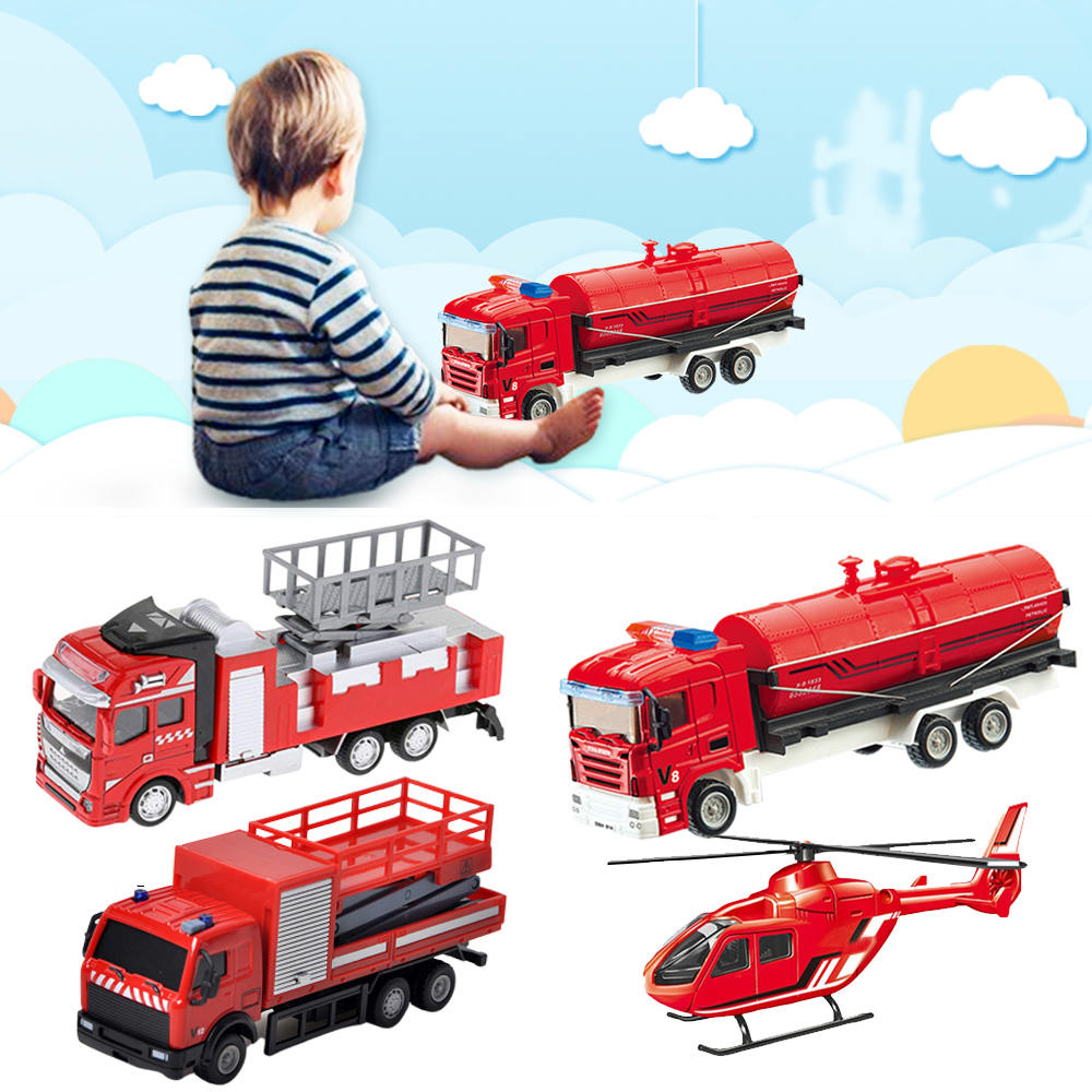 Metal Play Set Toy Vehicle Models  Fire Truck Toy Emergency Vehicles Mini Model Play Set Learning Toys Set For Boys Kids
