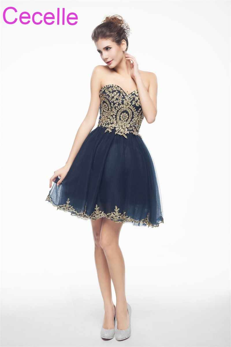 b0ccaf7ec54 ... Navy Blue With Gold Cute Short Cocktail Dresses 2019 Sweetheart Juniors Semi  Formal Short Prom Party ...