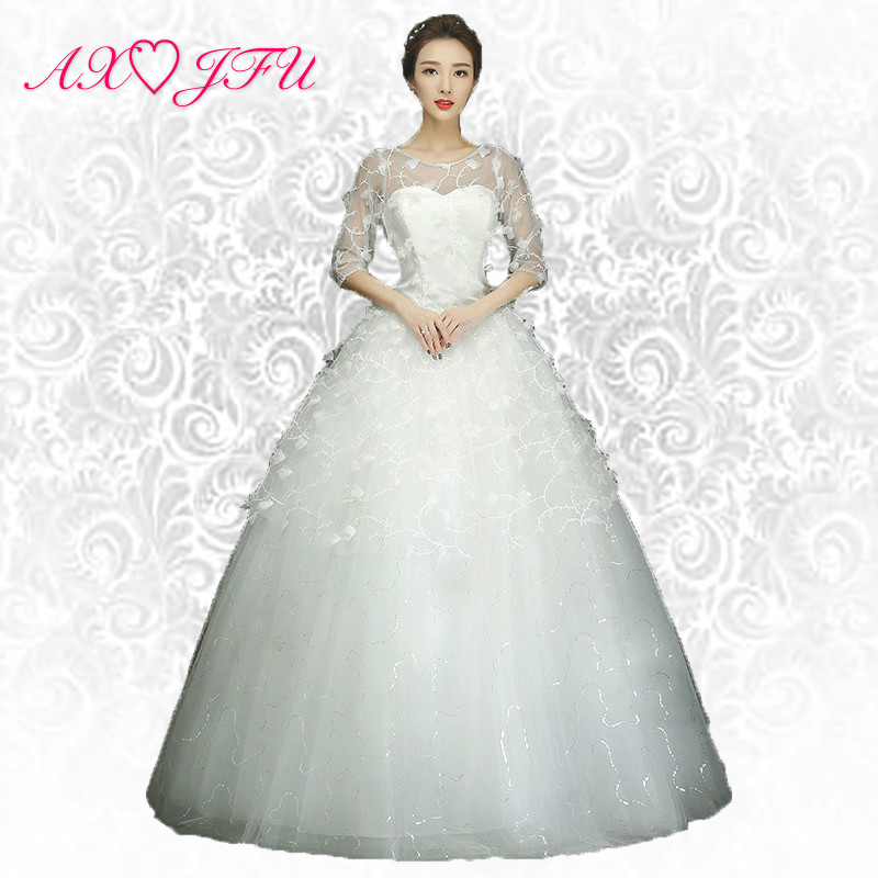 AXJFU flower princess wedding Dress little white flower lace wedding Dress white half sleeve wedding dress