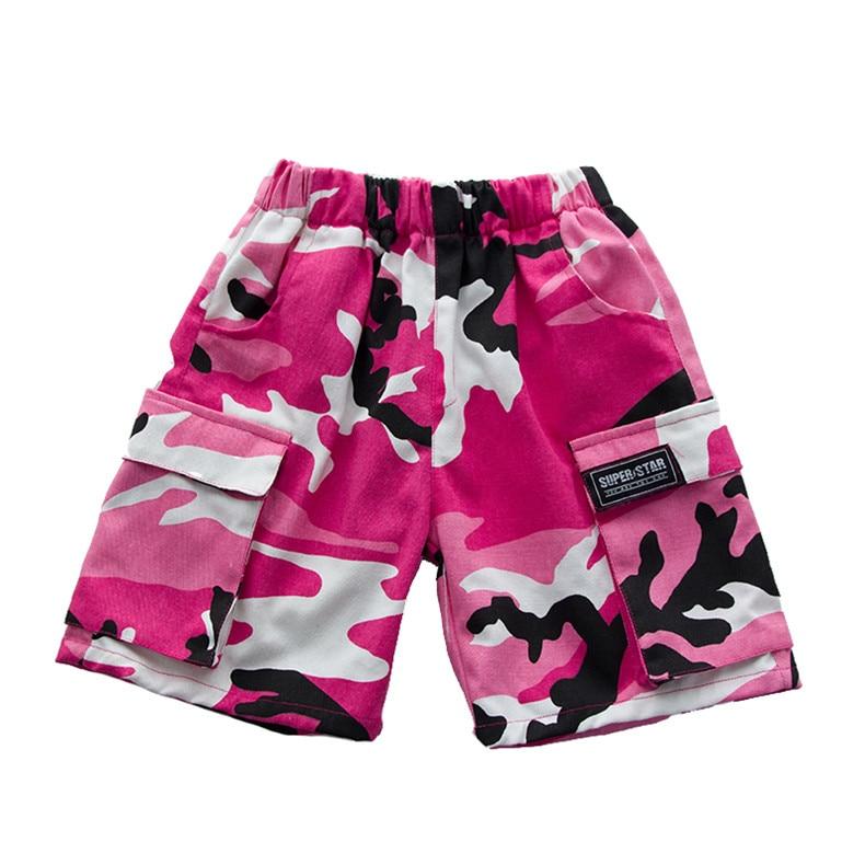 Розовая камуфляжная одежда для бальных танцев в стиле хип-хоп детская джазовая улица хип-хоп танцевальный костюм футболка штаны костюм для детей мальчиков и девочек - Цвет: Short Pants