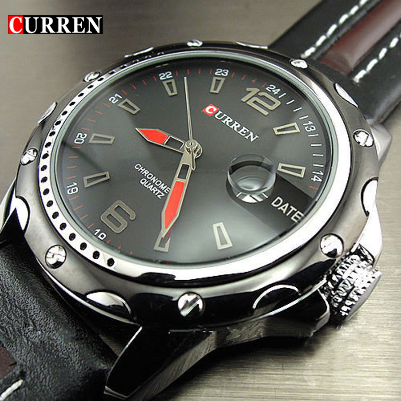 ÚJ FASHION CURREN BRAND MALE CLOCK MALE KÉZI DÁTUM BLACK BROWN BŐRSZEREK MENS QUARTZ WRIST WATCH 3ATM WATERPROOF WRISTWATCH