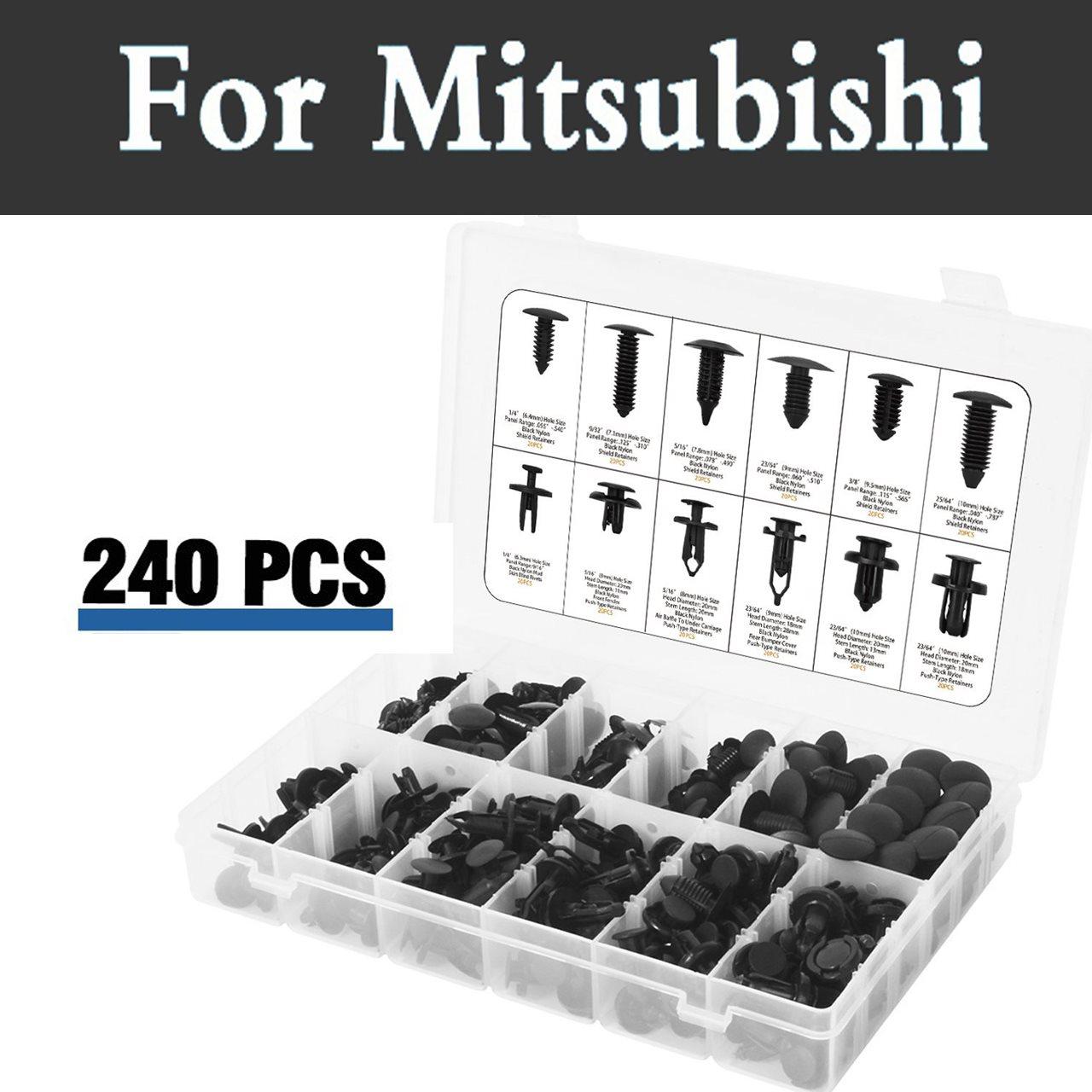 240 pcs Retenue Clips Mis Fixation Rivets Remover Outils Cas De Voiture Pour Mitsubishi Mirage Montero Sport Outlander Pajero Space