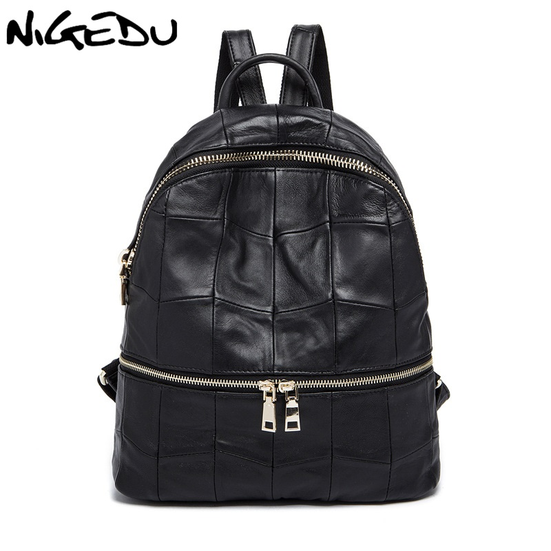 NIGEDU Brand Genuine Leather Women Backpacks Large Capacity Female School Bag Laptop Backpack Girls Shoulder Travel Mochila brand bag backpack female genuine leather travel bag women shoulder daypacks hgih quality casual school bags for girl backpacks