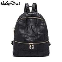 NIGEDU Brand Genuine Leather Women Backpacks Large Capacity Female School Bag Laptop Backpack Girls Shoulder Travel