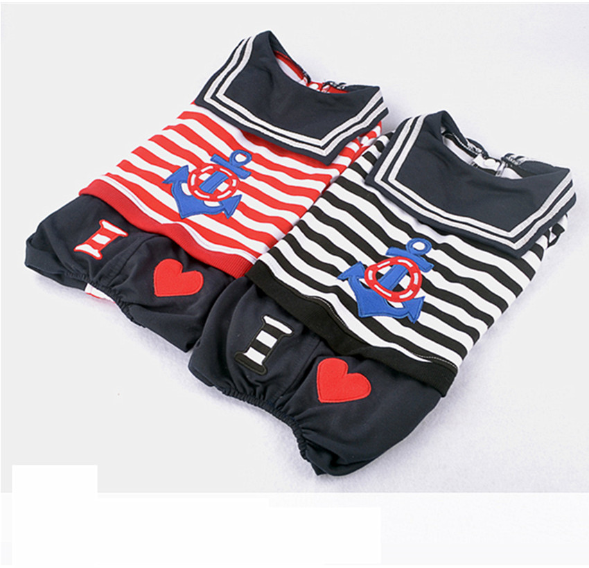 New Spring/Autumn Small Dog Clothes Dog Jumpsuit Fleece Dog Clothes Cat Coat with Four Legs Sailor Suit For Puppy Chihuahua