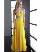 Yellow Chiffon Pleat Beading Prom Dresses Crystal Long Evening Dress Formal Party Gowns Robes Soiree