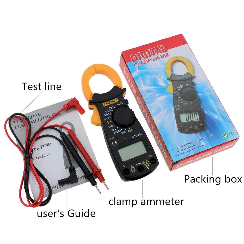 Digital Clamp Meter 600A AC/DC Multimeter Current Clamp Pincers Voltmeter Ammeter Ohm Current Voltage Tester DT-3266L cem dt 360 ac clamp meter cem everbest ac ac digital clamp meter 600v ammeter