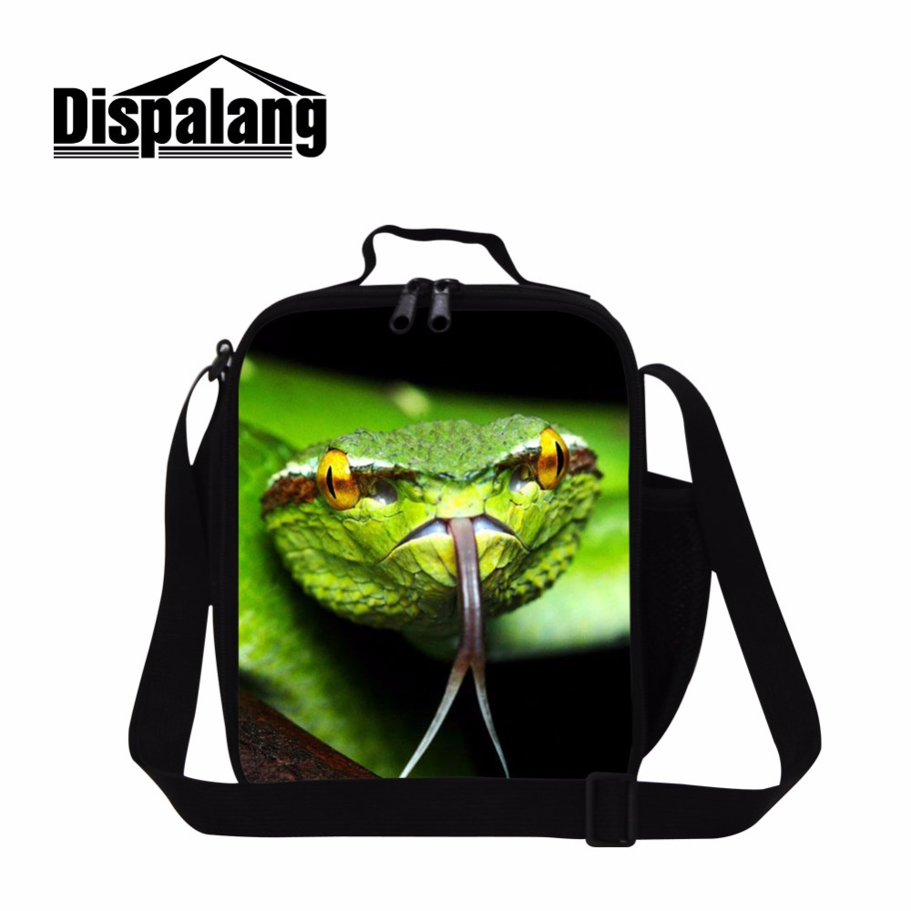 Dispalang Newest Lunch Cool Bags Popular Lunch Boxes for Work Cute School Lunch Pack for Kids Print Green Viper Pattern on bags