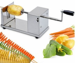 Stainless Steel Potato Chip Making Machine Home Made Potato Spiral Cutter Slicer