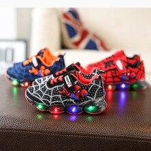 Высокое качество обуви благородный spider infant теннисные туфли все сезоны светодиодное освещение для маленьких девочек и мальчиков кроссовки милый ребенок первые ходунки