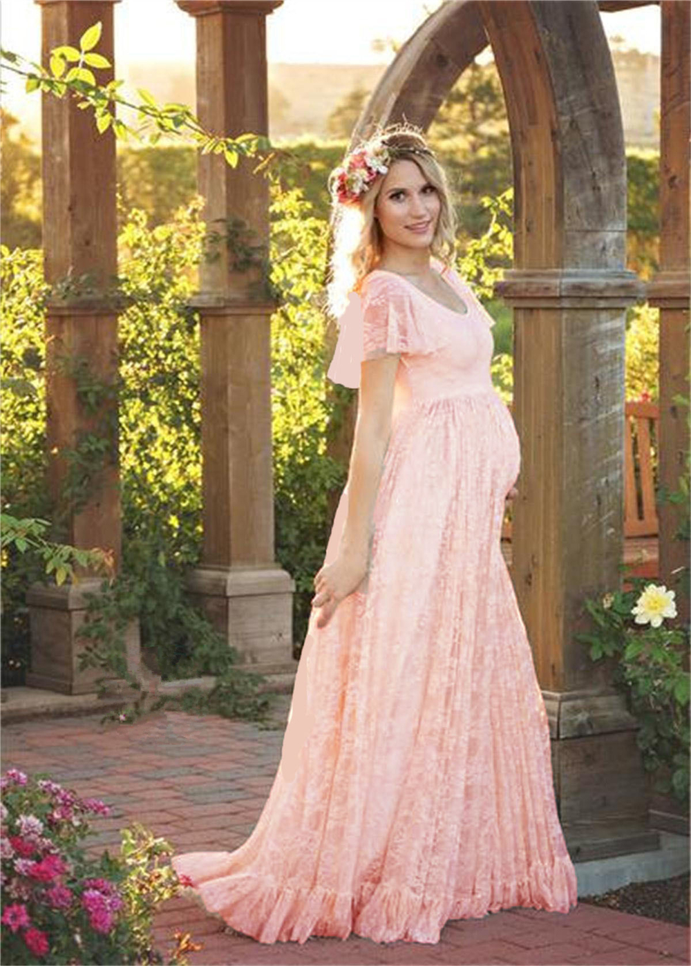 2018 Plus Size Maternity Dresses For Photo Shoot Fashion Lace Maxi ...
