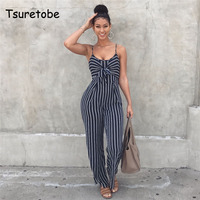 Tsuretobe Sexy Bow Strap Striped Jumpsuit Wide Legs Summer Sleeveless Backless Off Shoulder High Split Rompers