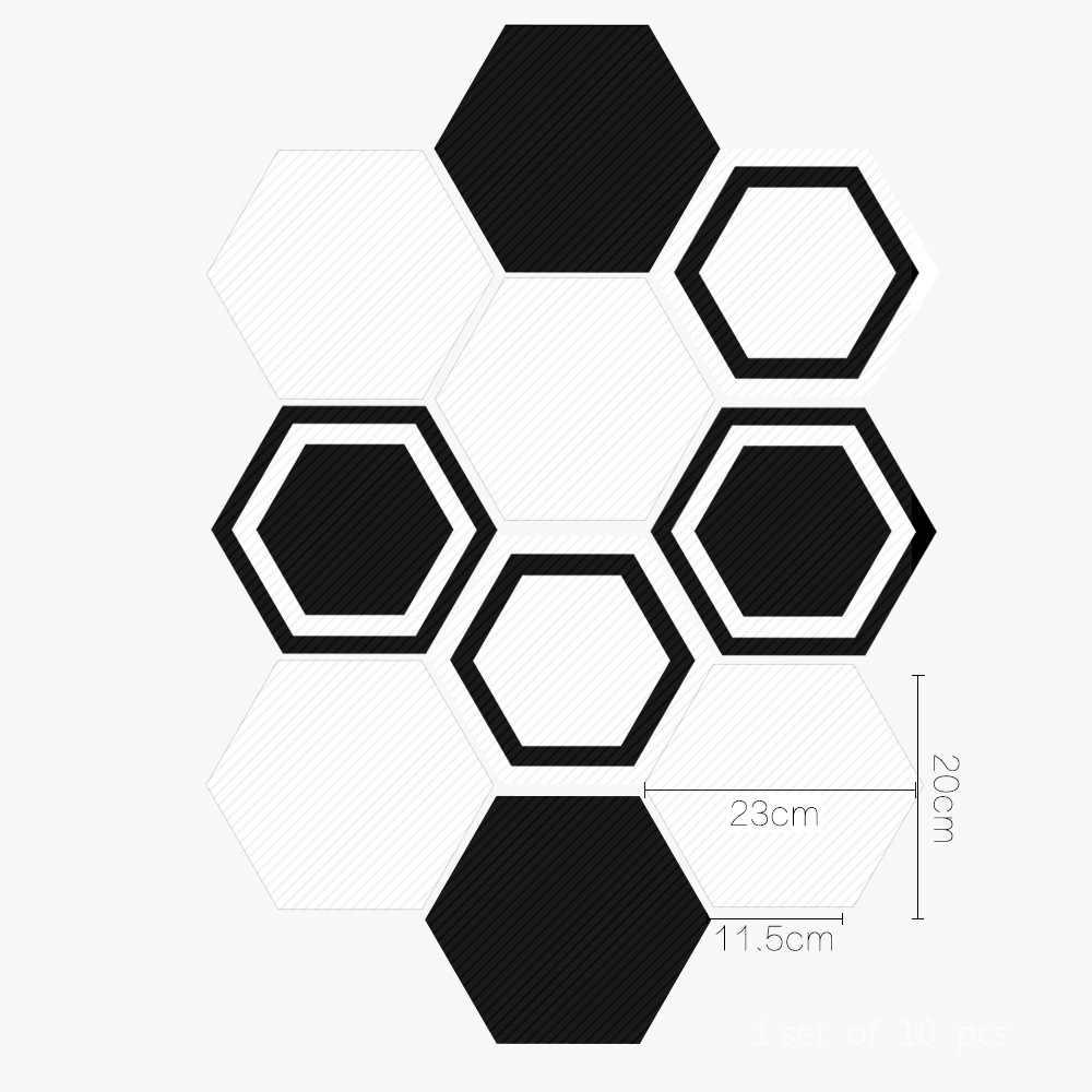 Funlife สติ๊กเกอร์ติดผนังสติ๊กเกอร์ติดผนัง,สีดำสีขาวโมเดิร์นรูปลอก Home Decor Wall Decor,anti-SLIP สำหรับห้องน้ำห้องครัวที่ถอดออกได้