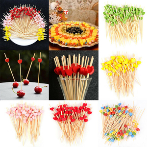 100Pcs 12cm Disposable Bamboo Heart Skewers Fruit Dessert Cake Sign Cocktail Picks Cute Food Sticks Buffet Cupcake Toppers Party(China)