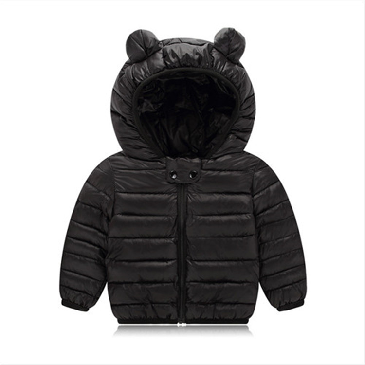 Fanfiluca Toddler Coat Black Hooded Warm Winter Coat Girls Cotton Waistcoat Infant For Baby Boy Jacket Kids Parka Outerwear005
